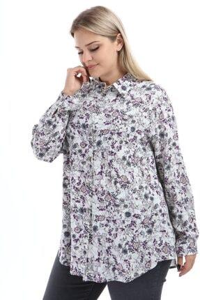 Big Free Kadın Çiçek Desenli Düğmeli Uzun Kollu Gömlek