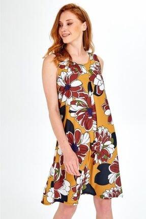 İkiler Kadın Sarı Kolsuz Desenli Önü Ve Arkası Pileli Elbise 019-04-4073