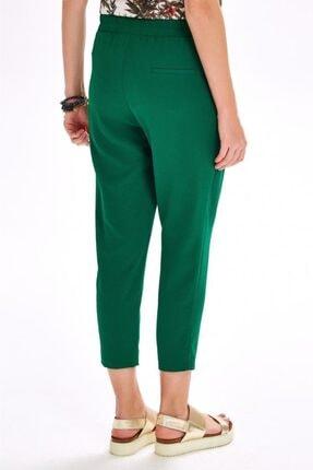 İkiler Kadın Yeşil Beli Lastikli Cepli Pantolon 020-3515
