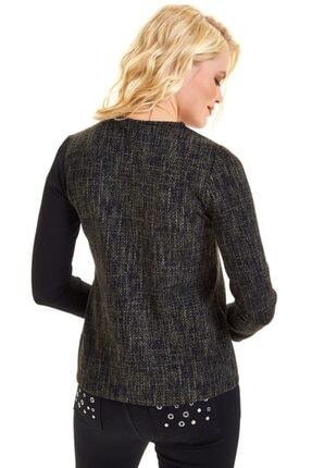 İkiler Omuzu Yırtmaçlı Düz Renk Garnili Bluz 201-1015