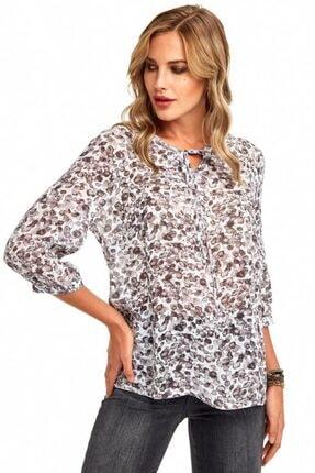 İkiler Kadın Kırık Beyaz Yakası Bağcıklı Desenli Bluz 190-3025-01
