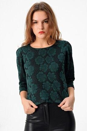 Jument Sıfır Yaka Vatkalı Jakar Desenli Şık Bluz-yeşil