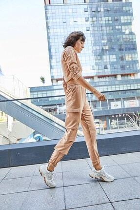 Boutiquen 5027- Vizon Beli Ve Paçası Lastikli Üç Cepli Pantolon
