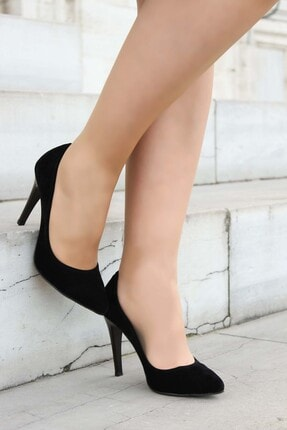 Fast Step Kadın Siyah Süet İnce Topuk Ayakkabı 917za7000
