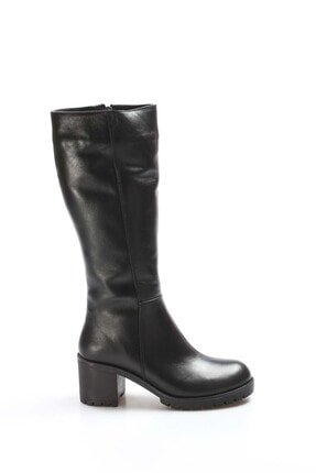 Fast Step Kadın Siyah Hakiki Deri Kürklü Kalın Topuklu Çizme 407kza2110