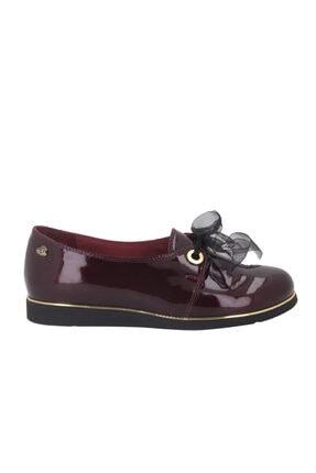 Venüs Bordo Rugan Kadın Babet Ayakkabı 12202y