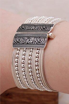 Sümer Telkari Kadın Midyat Hasırı Tasarım Gümüş Bileklik 3255