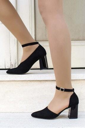 Fast Step Hakiki Deri Siyah Süet Kadın Kalın Topuklu Ayakkabı 064za788