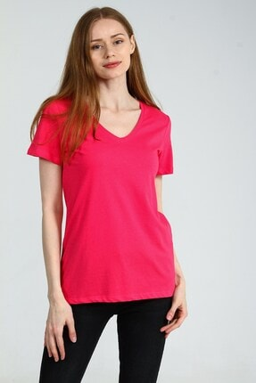 Collezione Fuşya V Yakalı Kısa Kollu Basic Kadın Tshirt