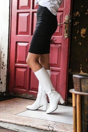 Fast Step Hakiki Deri Beyaz Kadın Klasik Çizme 064sza999