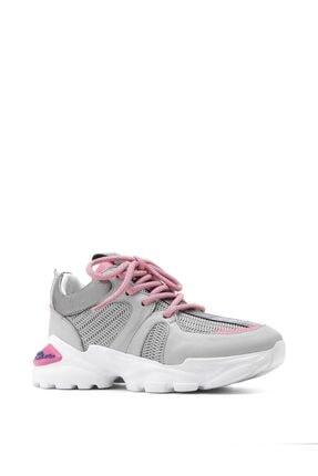 İlvi Aleksis Bayan Spor Ayakkabı Gri - Pembe Deri