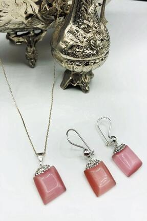 DR Stone Dr Stone Harem Koleksiyonu Kedigözü Taşı El Yapımı 925 Ayar Gümüş Set Gdr12