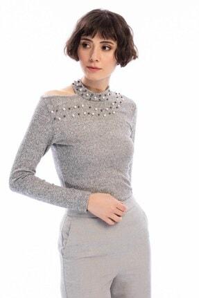 Cotton Mood 8490936 Yumoş Tek Omuzu Açık Incili Bluz Grı