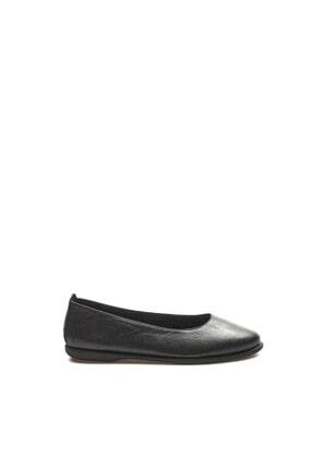 Fast Step Hakiki Deri Siyah Kadın Babet Ayakkabı 942za21m2030