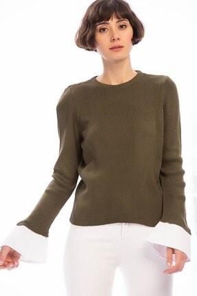 Cotton Mood 8506003 Ince Fitilli Kaşkorse Manşeti Garnili Uzun Kol Bluz Hakı