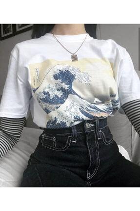 Köstebek Art - Great Wave Off Kanagawa Tsunami Japaneses Art Painting Unisex T-shirt