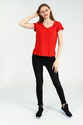 Collezione Kırmızı V Yakalı Kısa Kollu Kadın Basic Tshirt