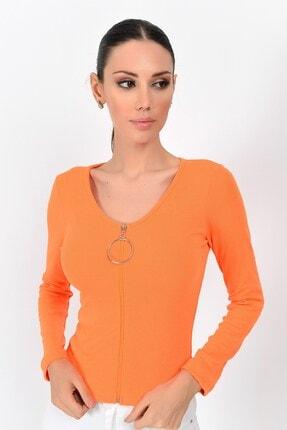 Cotton Mood 9362936 Kaşkorse Önü Fermuarlı Uzun Kol Bluz Orange