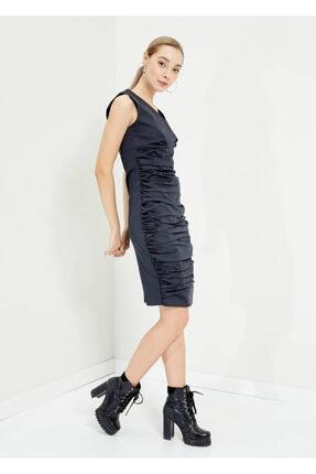 Cazador Kadın Siyah V Yaka Kolsuz Diz Altı Elbise