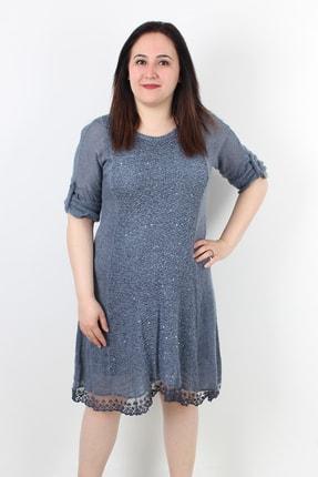 Günay Kadın Elbise Itn011 Sonbahar Kış O Yaka Pul Triko-lacivert