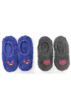 POKY BEBE Poky Kız Erkek Çocuk 2'li Peluş Ev Babet Çorabı