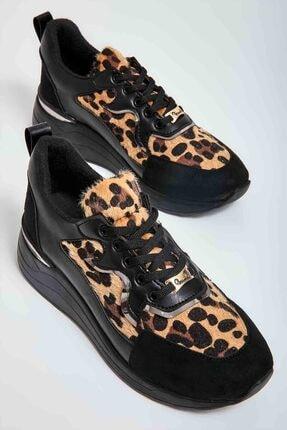 Bambi Siyah Leopar Rugan Kadın Sneaker M0510197898