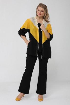 Günay Kadın Ceket Lm23430 Ilkbahar Yaz Fırfır Yaka Pamuk-sıyah