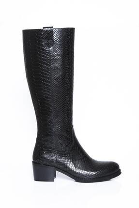 Deripabuc Hakiki Deri Siyah Açma Anakonda Kadın Deri Çizme Dp01-2066
