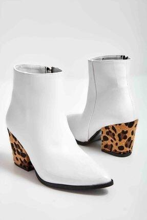 Bambi Beyaz Leopar Kadın Bot & Bootie M0718152609