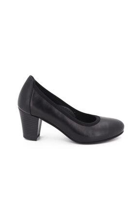 Hobby Siyah Deri Topuklu Kadın Ayakkabı 105