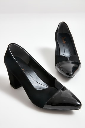 Bambi Siyah Velvet Kadın Klasik Topuklu Ayakkabı M0764060206