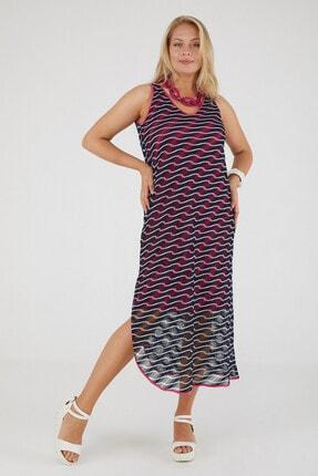 Günay Kadın Elbise Lm24430 Ilkbahar Yaz V Yaka Örme File-sıyah