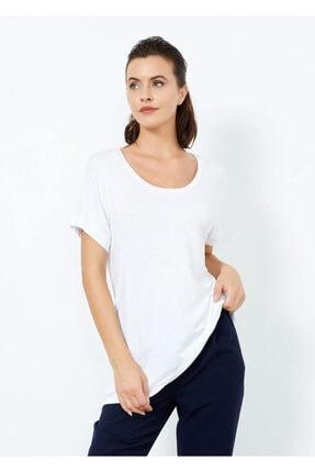 Cazador Kadın Beyaz Geniş Yaka Basic Tişört Beyaz Xl
