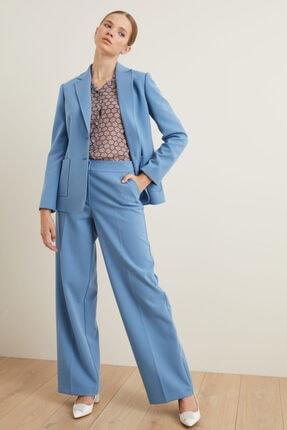 adL Kadın Mavi Bol Paça Cepli Pantolon