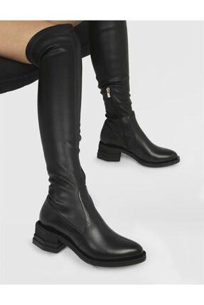 İlvi Capuera Hakiki Deri Kadın Siyah Streç Çizme