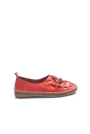 Fast Step Hakiki Deri Kırmızı Kadın Babet Ayakkabı 942za704