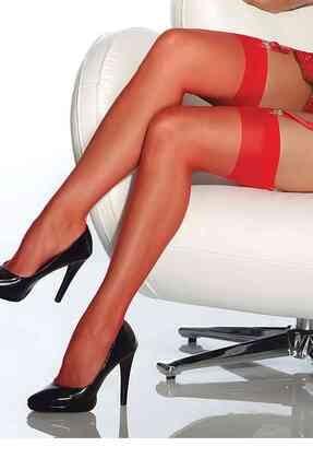 Merry See Kırmızı Dantelsiz Jartiyer Çorabı