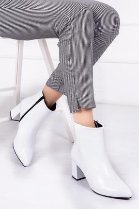 Deripabuc Hakiki Deri Beyaz Rugan Kadın Topuklu Deri Bot Dp02-0001
