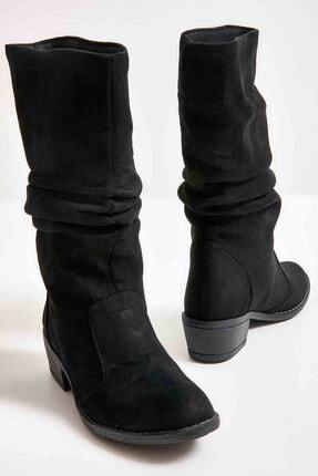 Bambi Siyah Süet Kadın Çizme M0709010065