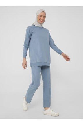 Refka Kadın Mavi Uzun Kollu Basic Eşofman Takımı