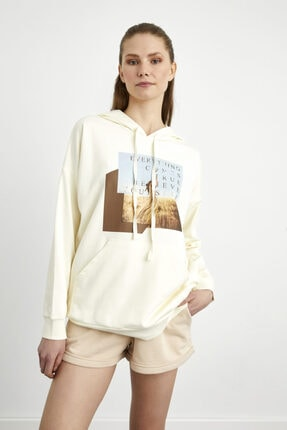 adL Kapüşonlu Baskılı Sweatshirt