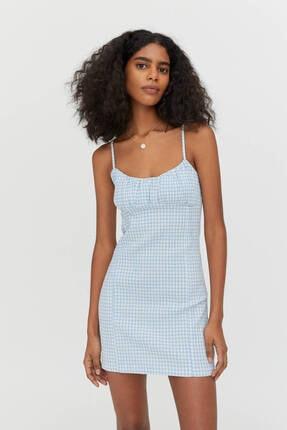 Pull & Bear Pötikareli Büzgülü Elastik Mini Elbise