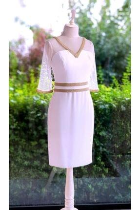 Bendis Kırık Beyaz Renk Gold Şerit Detaylı Tül Truvakar Kol Kısa Elbise
