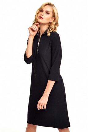 İkiler Kadın Siyah Yakası Metal Fermuarlı Elbise