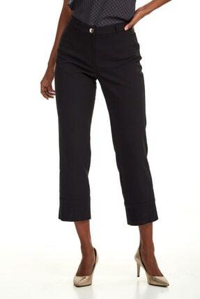 İkiler Kadın Siyah Beli Ve Paçası Çıtçıtlı Relax Fit Pantolon 020-3502