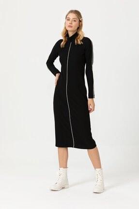 Seçil Kadın Şeritli Dik Yaka Siyah Elbise 3589