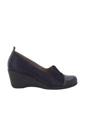 Hobby Lacivert Deri Dolgu Topuk Kadın Ayakkabı 910