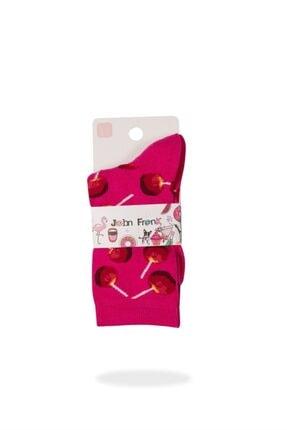 JOHN FRANK Kadın Pembe Fun Socks Uzun Çorap