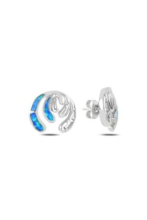 Tevuli Gümüş 925 Ayar Opal Taşlı Sallantılı Çivili Küpe