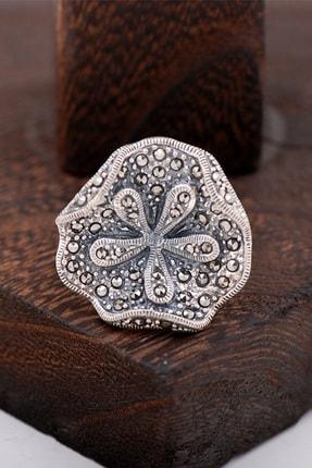 Sümer Telkari Süsen Çiceği Markazit Taşlı Tasarım Gümüş Yüzük 2416